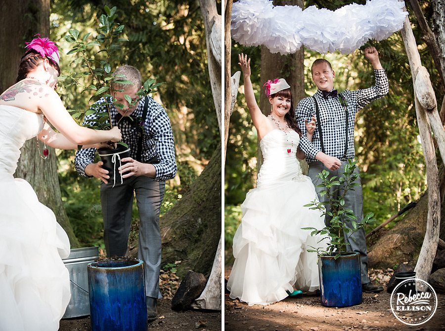 planting tree during wedding ceremony