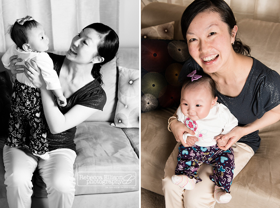 A baby poses with her mother during a child portraits session photographed by Seattle family photographer Rebecca Ellison