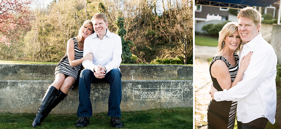 Smith Cove Park engagement portraits featuring a couple sitting on a cement ledge photographed by Rebecca Ellison Photography