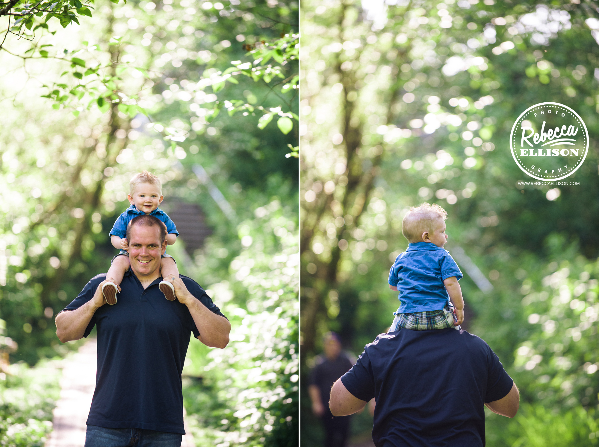 Son rides on his father's shoulders at Howarth Park photographed by Rebecca Ellison Photography