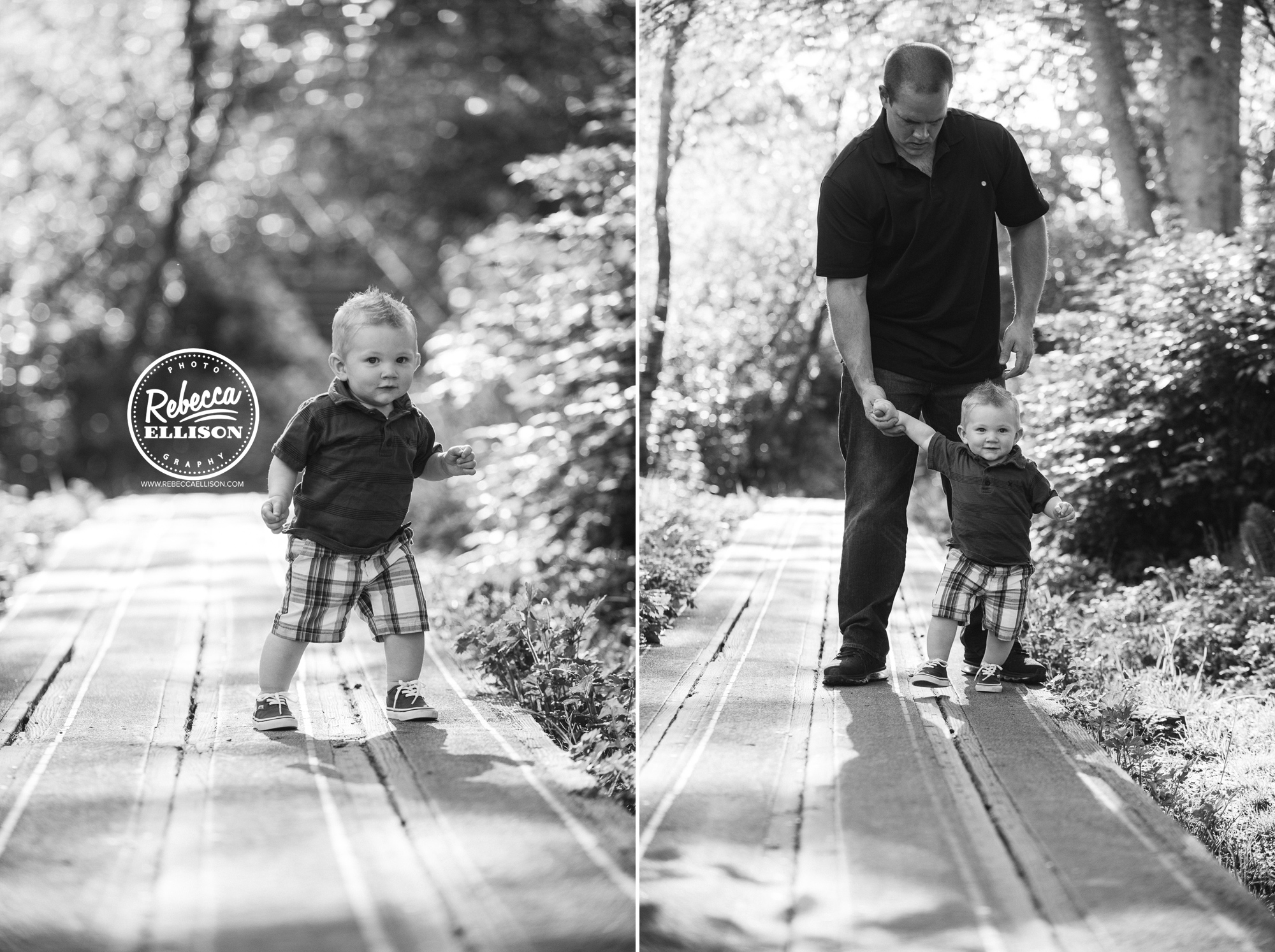 Father and son play at Howarth Park in Everett photographed by family photographer Rebecca Ellison