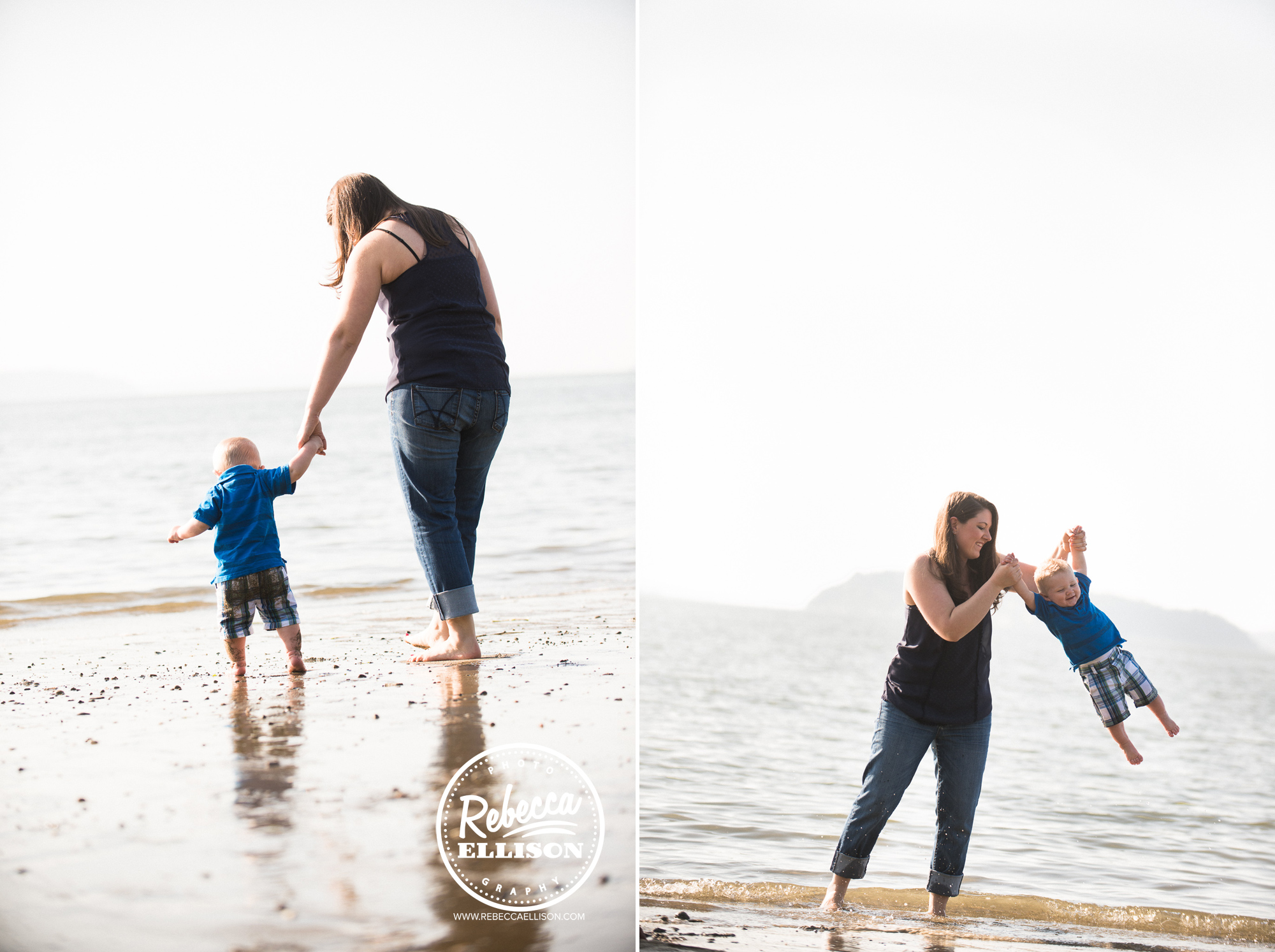 Mother and son play at the beach photographed by Everett Family photographer Rebecca Ellison