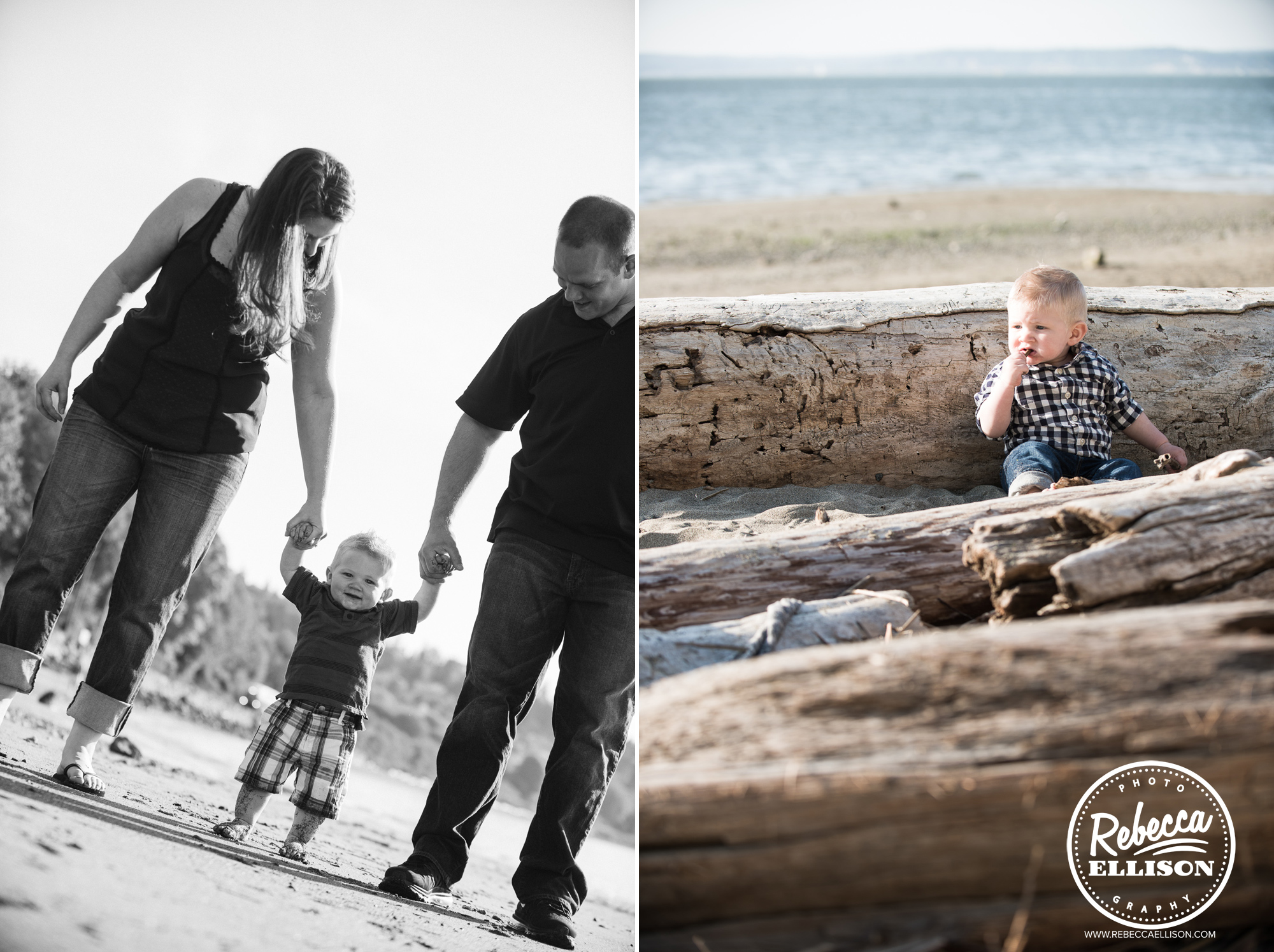 Family time at the beach photographed by Everett Family photographer Rebecca Ellison