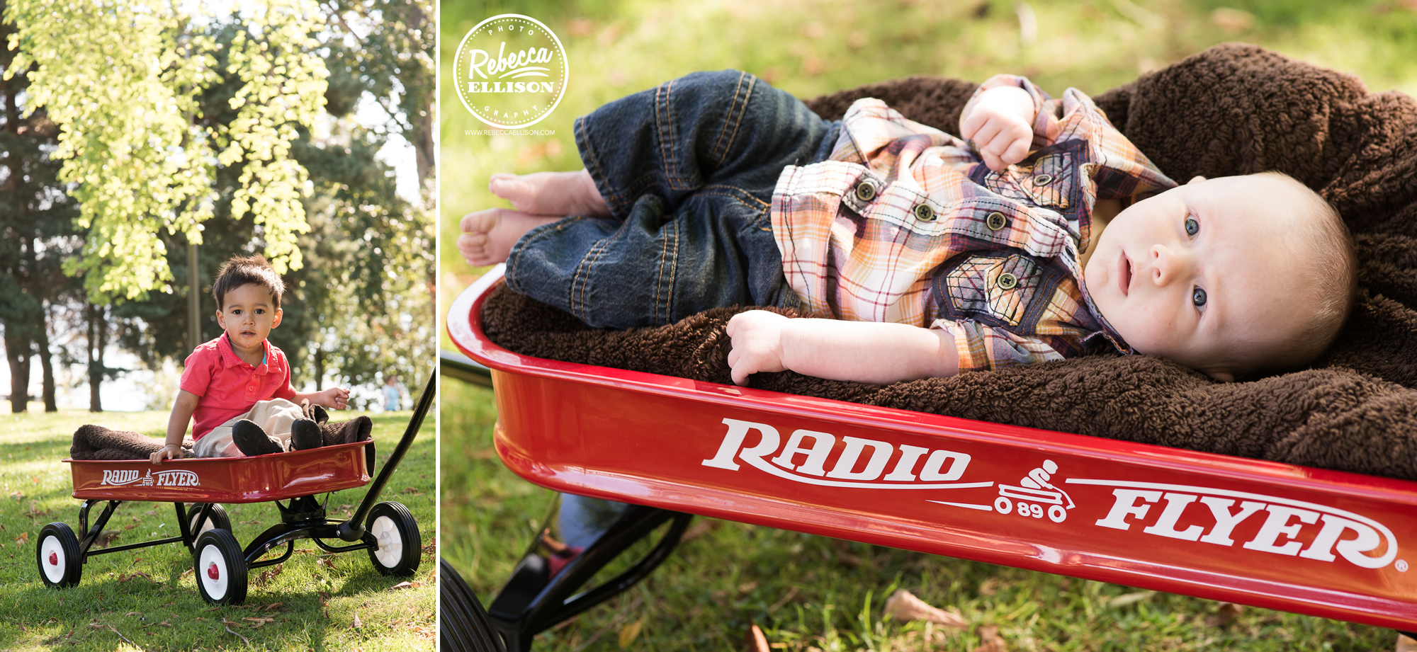 Cousins play in a Radio Flyer wagon during outdoor family portraits photographed by Rebecca Ellison Photography