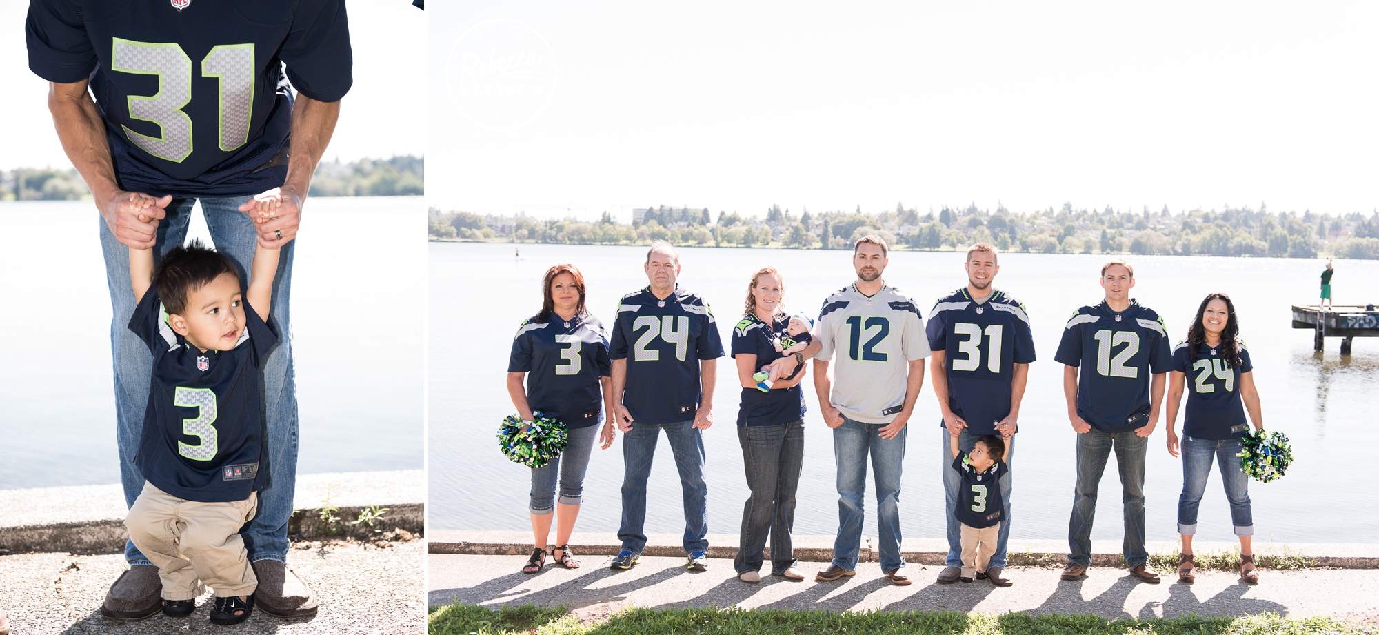 12th man portraits a Seattle family shows their Seahawks tem spirit during extended famile portraits photographed by Rebecca Ellison Photography