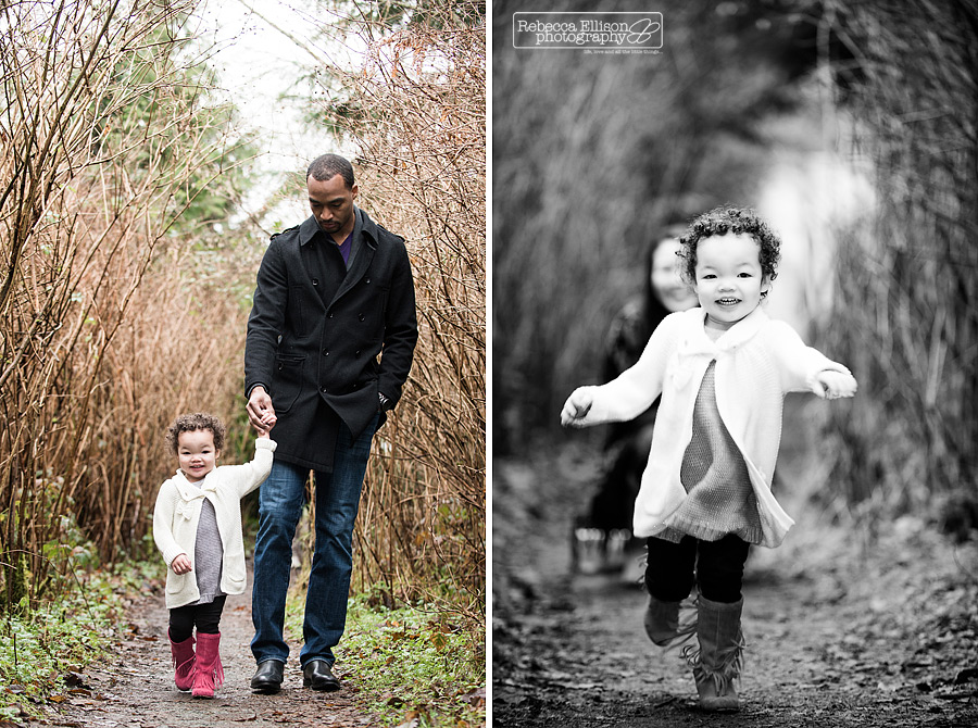 Winter outdoor family portraits at the park in Seattle photographed by Rebecca Ellison Photography