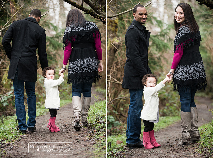 A family walks in the park during a winter outdoor family portraits session photographed by Seattle Family photographer Rebecca Ellison