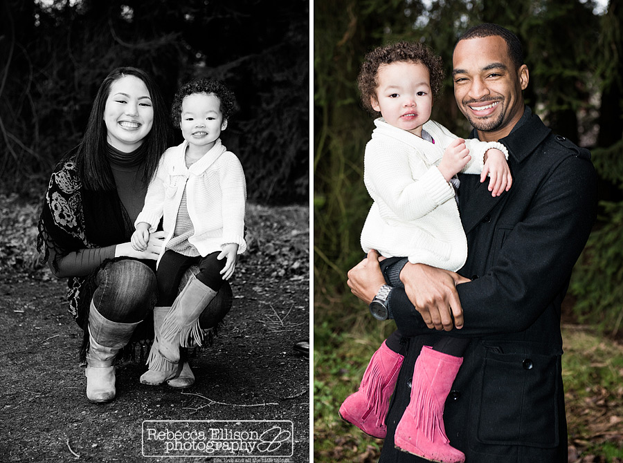 A 2 year old girl with her parents photographed by Seattle family photographer Rebecca Ellison