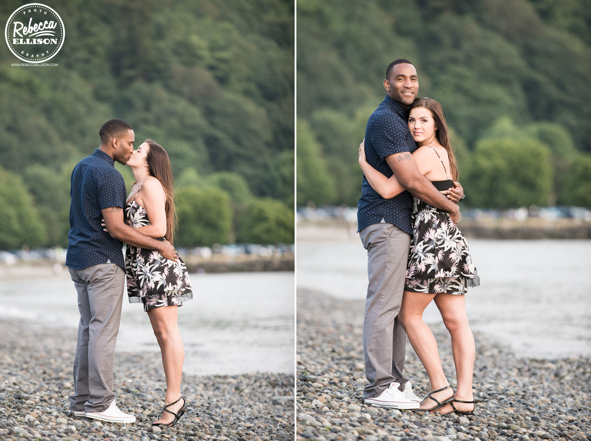 Beach Engagement at Golden Gardens in Seattle photographed by Rebecca Ellison Photography
