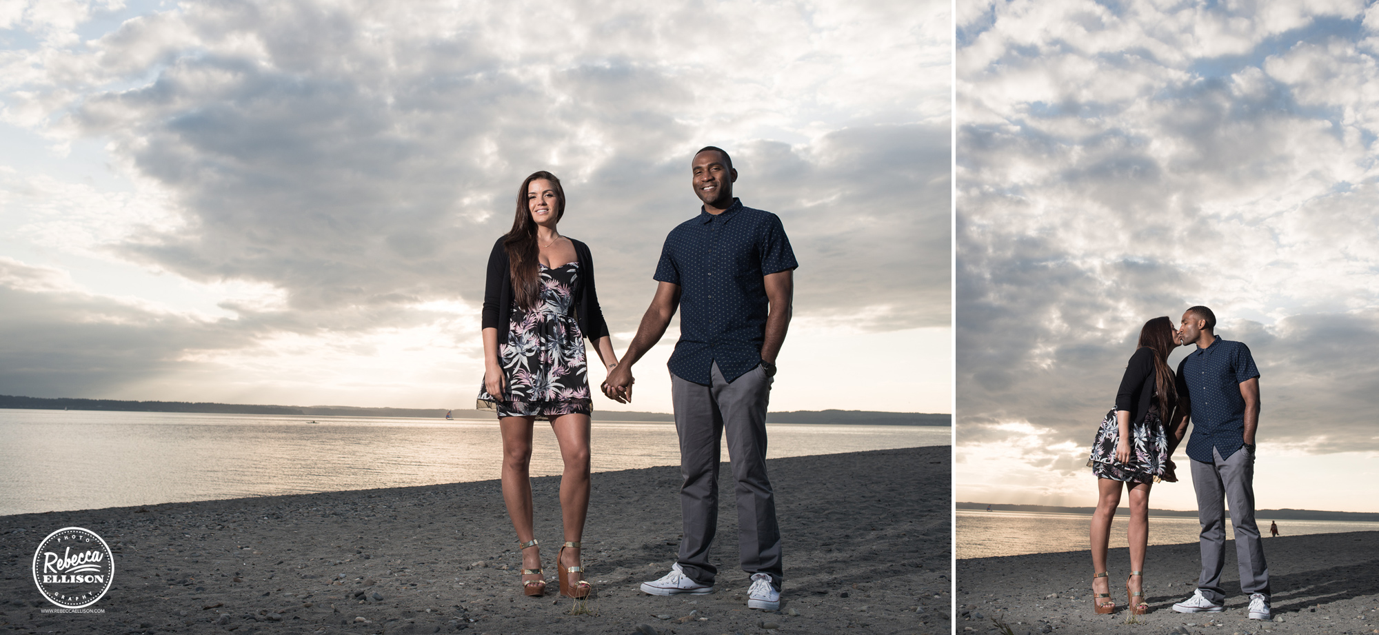 Sunset Beach Engagement photographed by Seattle wedding photographer Rebecca Ellison
