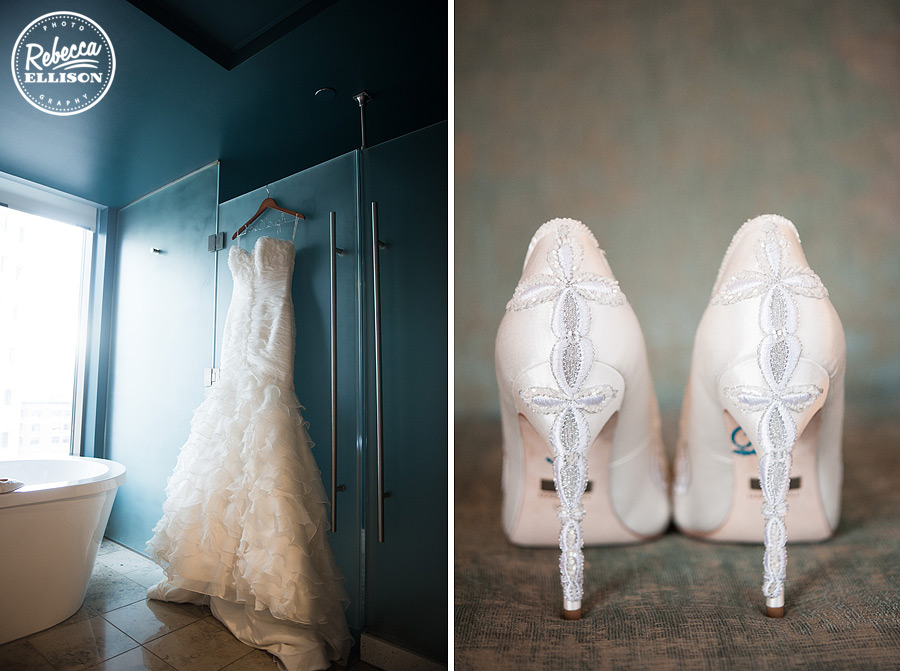 Strapless ruffled wedding gown from the Princess Bride Wedding boutique  and embroidered white wedding Badgley Mischka shoes at a hall at a black, white and red wedding by seattle wedding photographer rebecca ellison