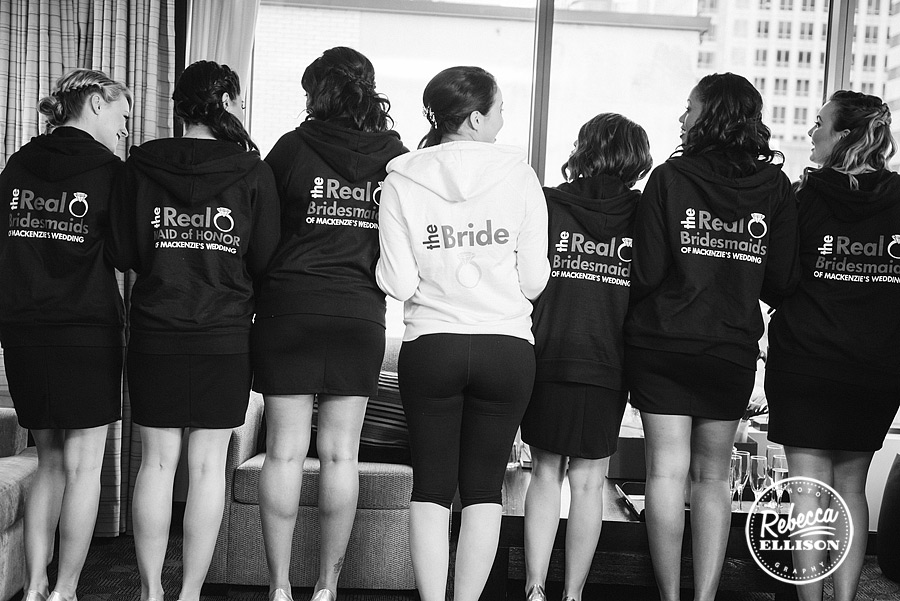 custom sweashirts for the bridal party at a west seattle black, white and red wedding at the hall at fauntleroy in west seattle