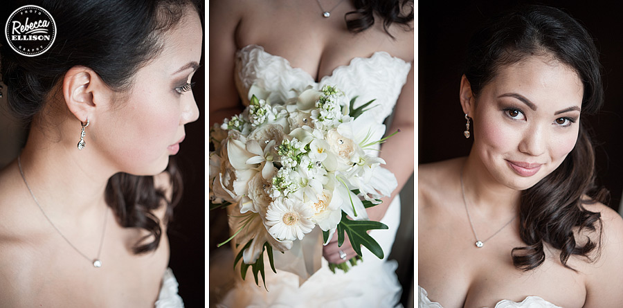 bridal earrings, necklace, flowers and hair at a black, white and red wedding photographed by Rebecca Ellison Photography