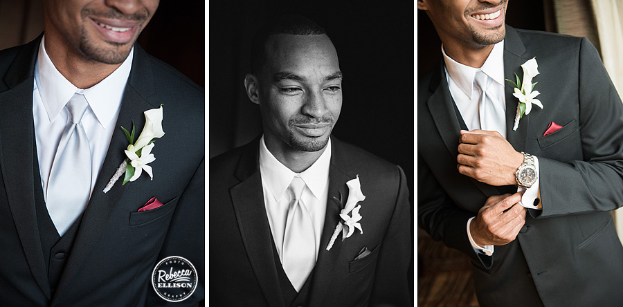 groom details include boutonniere, pocket square, tie and cuff links at a black white and red wedding photographed by rebecca ellison photography