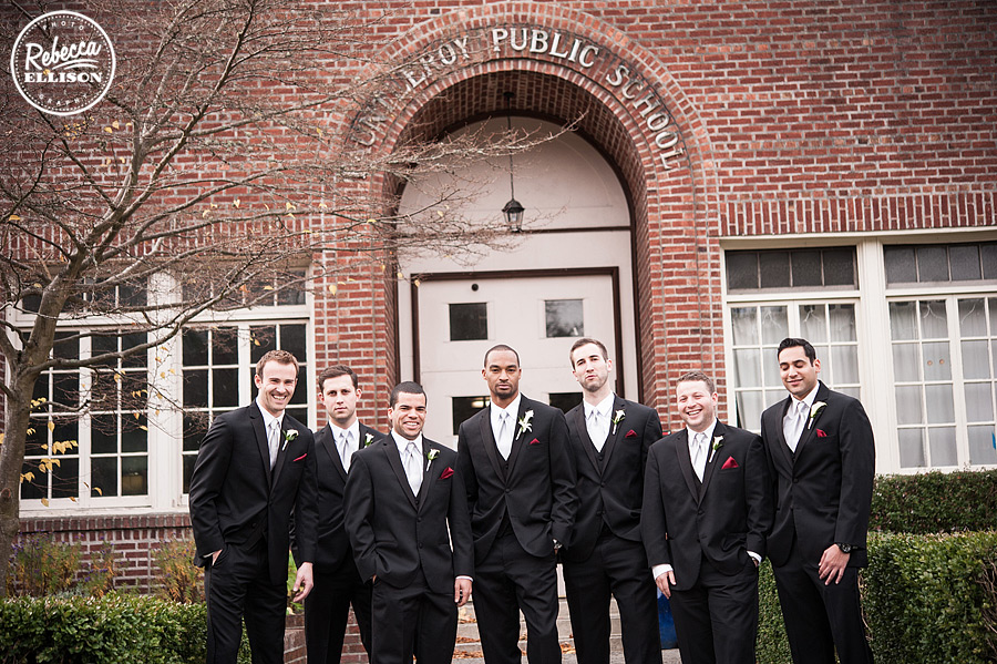 groom and groomsmen at an elegant black, white and red wedding at the hall at fauntleroy photographed by rebecca ellison photography