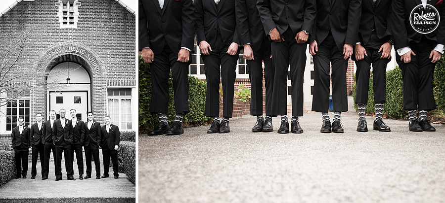groom and groomsmen wear striped socks at a black, white and red wedding at west seattle venue the hall at fauntleroy photographed by Rebecca Ellison photography