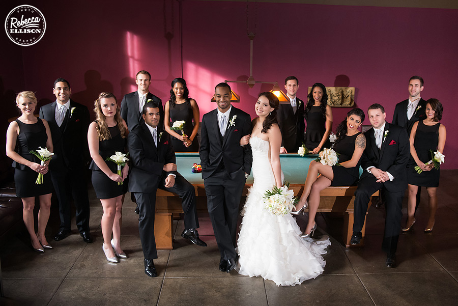 Bridal party and a black, white and red wedding at the hall at fauntleroy in west seattle photographed by seattle wedding photographer rebecca ellison