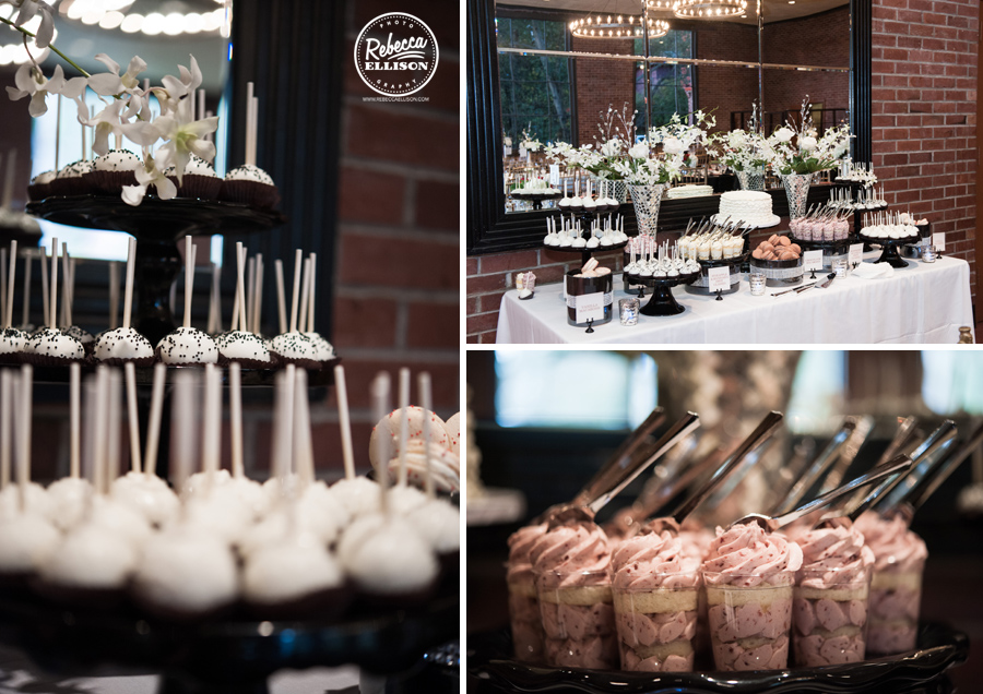 Cake pops and desserts at an elegant black, white and red wedding at the hall at fauntleroy in west seattle