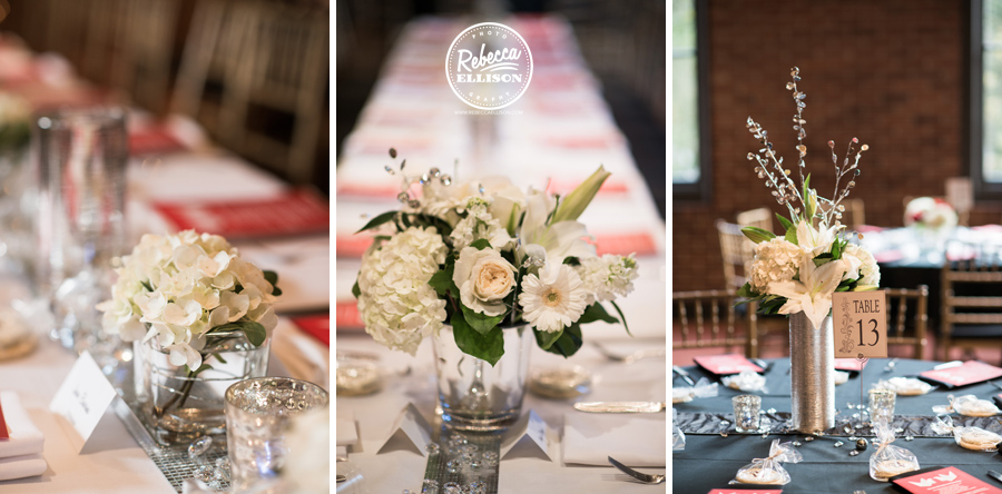 Flowers at an elegant black, white and red wedding reception photographed by Rebecca Ellison photography