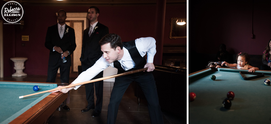 Billiards at a hall at fauntleroy wedding photographed by Rebecca Ellison Photography