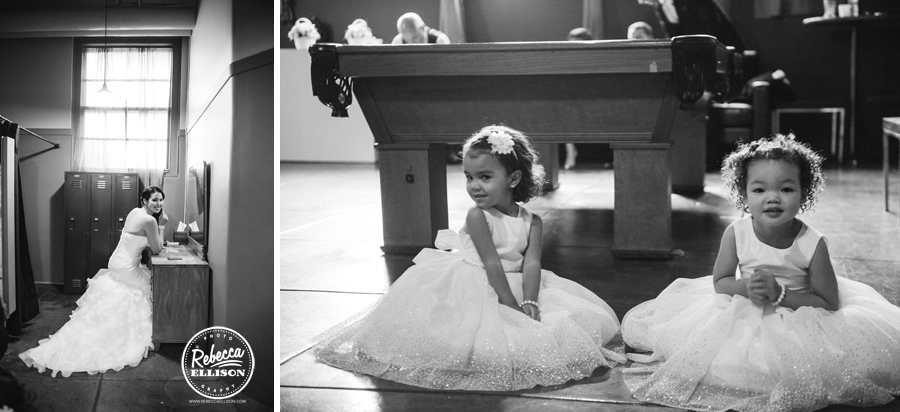 Bride and Flower girls at an autumn hall at fauntleroy wedding by Seattle wedding photographer Rebecca Ellison