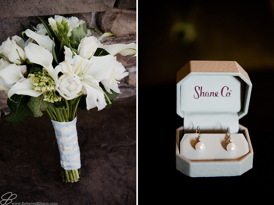 Snohomish wedding photographer Rebecca Ellison captures details of bouquet of white call lilys from Everett Floral and pearl earrings from Shane Co
