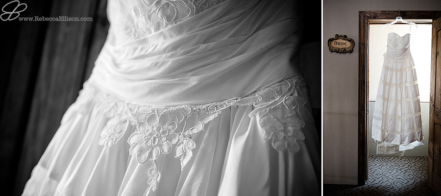 Snohomish wedding photographer Rebecca Ellison captures black and white detail image of lace on wedding dress from Belltown Bride