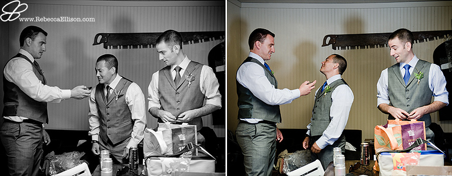 Snohomish wedding photographer Rebecca Ellison photographs groomsmen getting ready at Hidden Meadows wedding venue