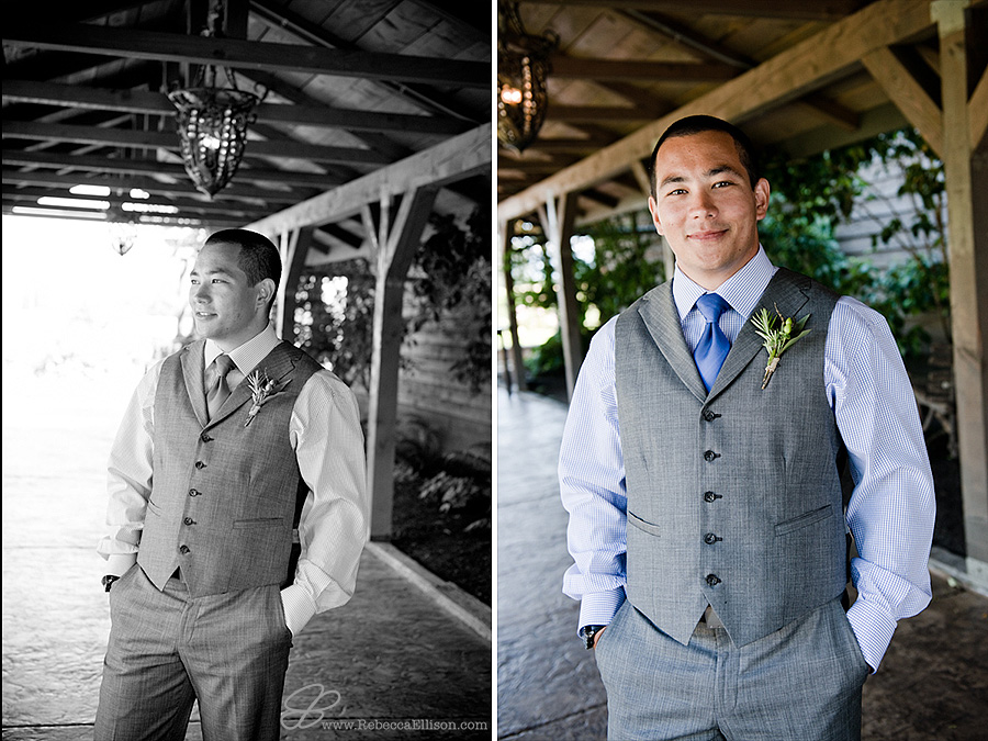 Snohomish wedding photographer Rebecca Ellison captures portrait of groom waiting for bride outdoors at Hidden Meadows wedding venue