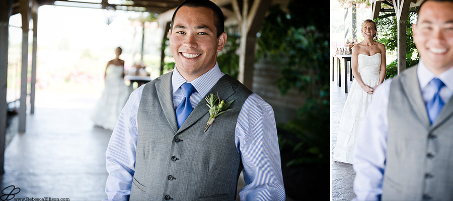 Snohomish wedding photographer Rebecca Ellison photographs portrait of groom wearing grey three piece suit without jacket, royal blue tie and light blue shirt at Hidden Meadows wedding venue