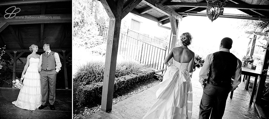 Snohomish wedding photographer Rebecca Ellison captures black and white candid of bride and groom walking outside at Hidden Meadows wedding venue.