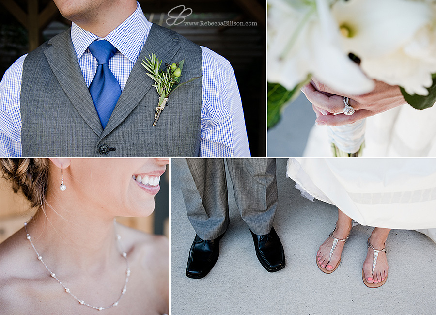 Snohomish wedding photographer Rebecca Ellison captures detail images of bride and groom. Bride wearing pearl earings from tiffanys, groom wearing grey vest and blue tie and green boutineer from Everett Floral,