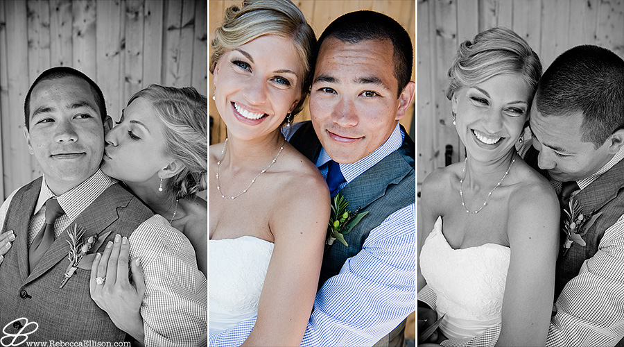 Snohomish wedding photographer Rebecca Ellison captures close up portraits of bride and groom at Hidden Meadows. Bride wearing strapless gown from Belltown Bride and groom wearing grey tux with vest and blue dite from Tuxedo Club
