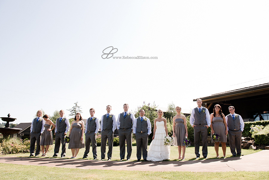 Snohomish wedding photographer Rebecca Ellison captures unique bridal party photo outdoors at Hidden Meadows wedding venue