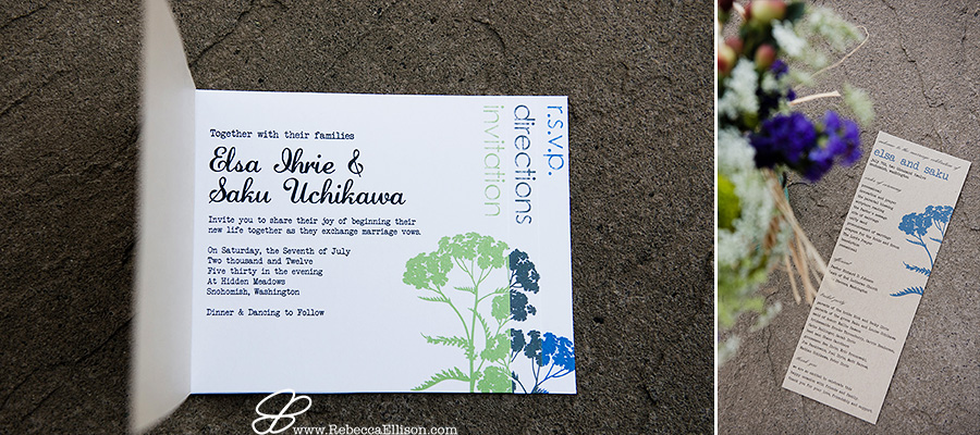 Snohomish wedding photographer Rebecca Ellison captures detail photo of custom designed wedding invitation with blue teal and green highlights