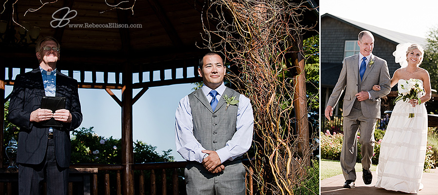 Snohomish wedding photographer Rebecca Ellison photographs groom in a grey suit with grey vest and blue tie waiting for his bride to walk down the aisle during his outdoor summer wedding ceremony at Hidden Meadows wedding venue.