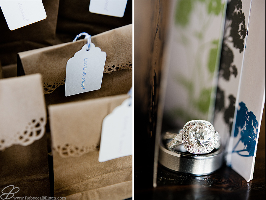 Snohomish wedding photographer Rebecca Ellison captures detail images of wedding rings and wedding favors wrapped in paper bags with tags saying love is sweet.