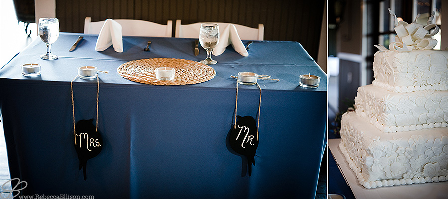 Snohomish wedding photographer Rebecca Ellison captures detail photo of bride and groom's sweetheart table with blue tablecloth and mr and mrs signs of wood painted with chalkboard paint in the shape of birds hung by brown wood string.