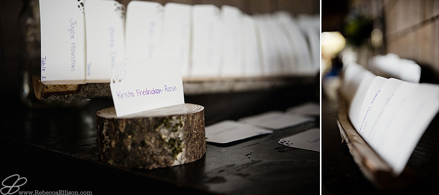 Snohomish wedding photographer Rebecca Ellison captures detail of creative place card holder made out of rounds of wood by DIY bride for wedding reception.