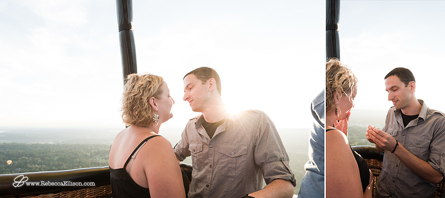 Surprise wedding proposal in hot air balloon with Seattle in the background by Seattle wedding photographer Rebecca Ellison Photography