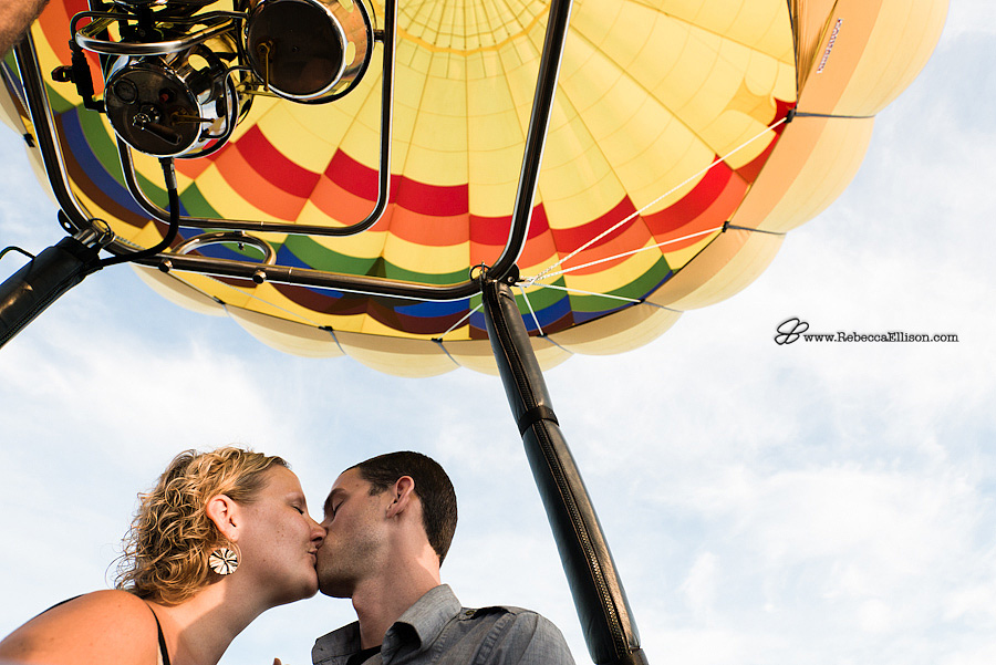 portraits in a hot air balloon after surprise proposal in the air over Seattle photographed by Seattle Wedding Photographer Rebecca Ellison