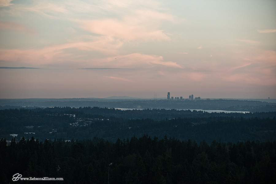 view of Seattle and lake Washington at sunset looking over trees from the view point of a hot air balloon by seattle wedding photographer Rebecca Ellison