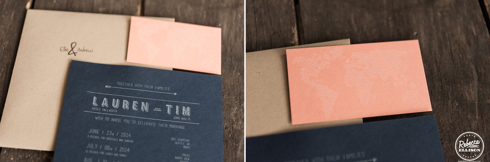 Black and coral wedding invitations against a wooden background photographed by Rebecca Ellison Photography