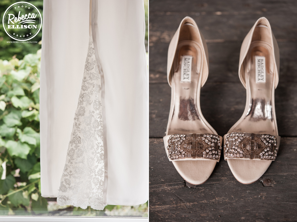 White wedding dress with lace details and sparkly shoes photographed by Seattle wedding photographer Rebecca Ellison