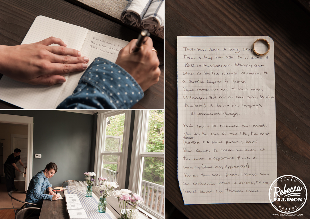 A bride puts the finishing touches on her wedding vows photographed by Rebecca Ellison Photography