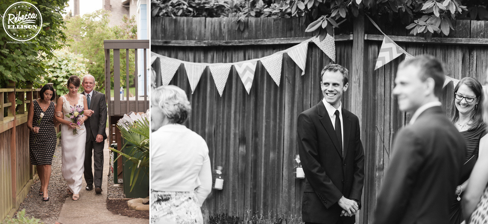 Groom waits for the wedding ceremony to start at an intimate backyard wedding featuring DIY penant banner decor photographed by Rebecca Ellison Photography