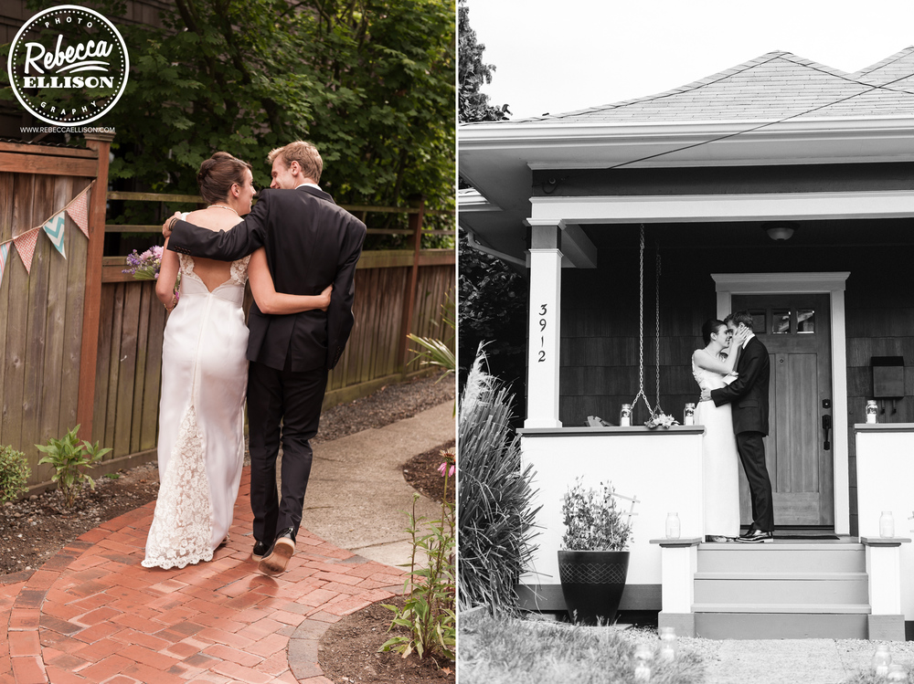 Bride and groom take a stroll and kiss on the front porch to celebrate their marriage featuring a white wedding dress with lace detail photographed by Seattle wedding photographer Rebecca Ellison
