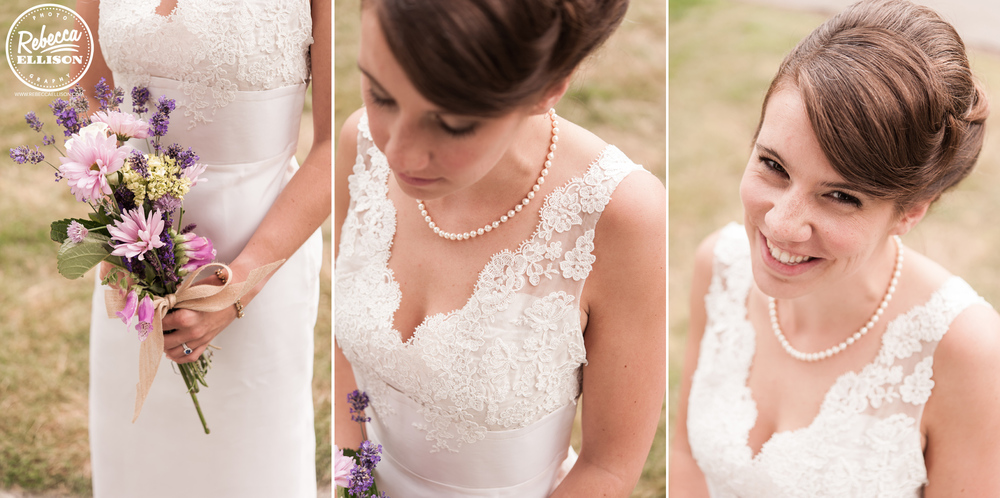 Bridal details featuring a white v-neck wedding dress with lace detail, lavender bridal bouquet and a pearl necklace photographed by Rebecca Ellison Photography