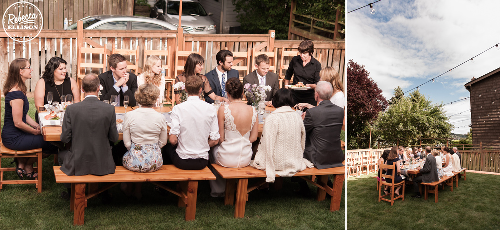Wedding guest enjoy dinner at an intimate backyard wedding in Seattle photographed by Rebecca Ellison photography