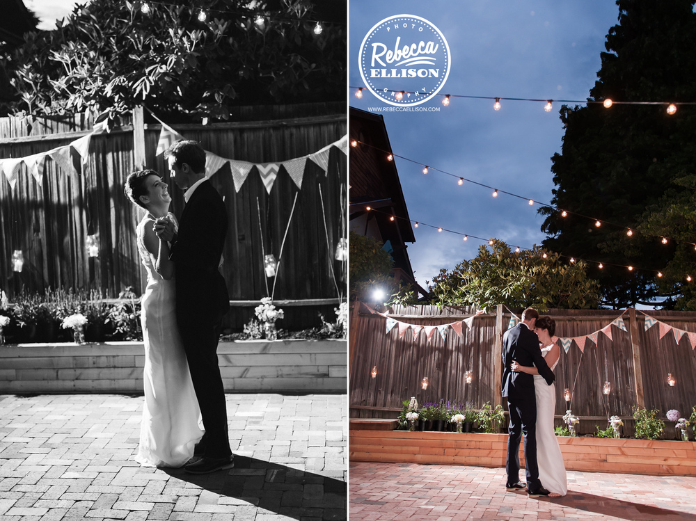 Bride and groom share a dance at their intimate backyard wedding featuring penant banners and light strings photography by Rebecca Ellison